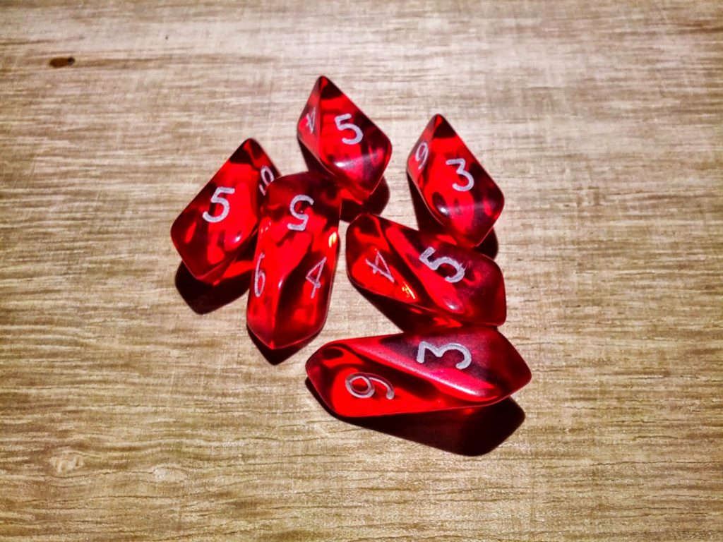 Photo of crystal-shaped six-sided dice