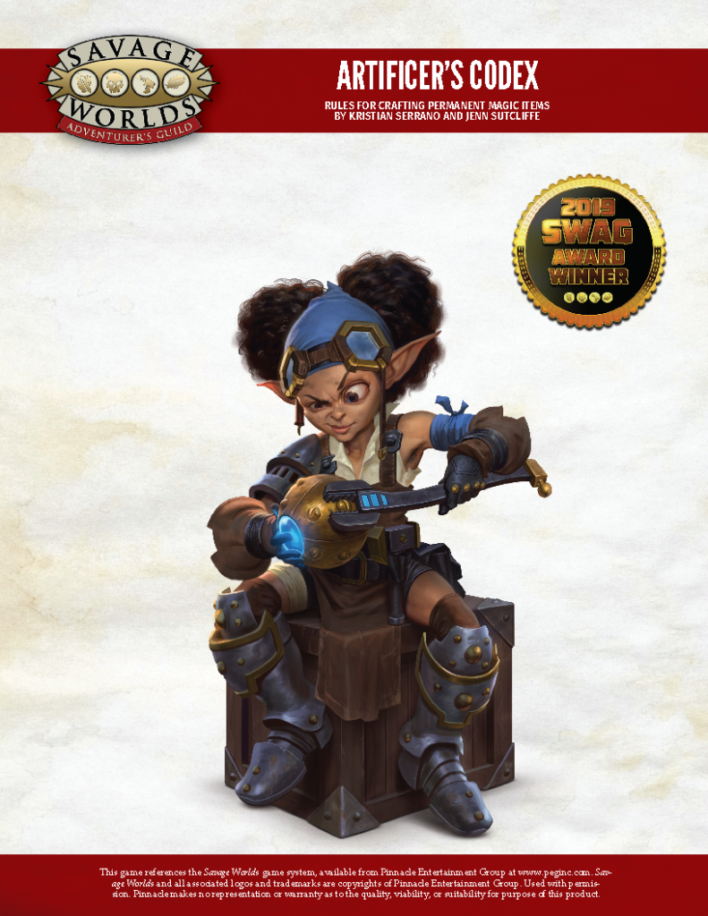 Cover of Artificer's Codex in which a gnome is sitting on a crate while using a wrench to tighten a bolt on an arcane device.